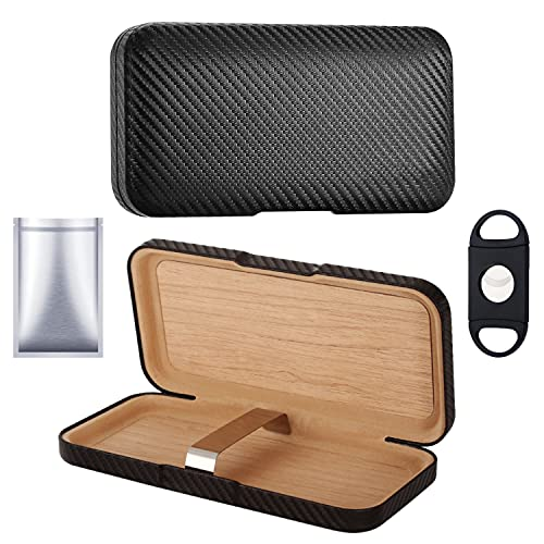 Cedar Travel Cigar Humidors Cigar Case for Men - Leather Cigar Travel Case - Travel Humidor Cigar Box with 69% RH Humidity Packs and Cutter - Cigar Humidor Humidifier
