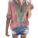 Sunhusing Women's Deep V-Neck Bohemian Print Half Sleeve Tops Casual Beach Wind T-Shirt (2XL, Pink)