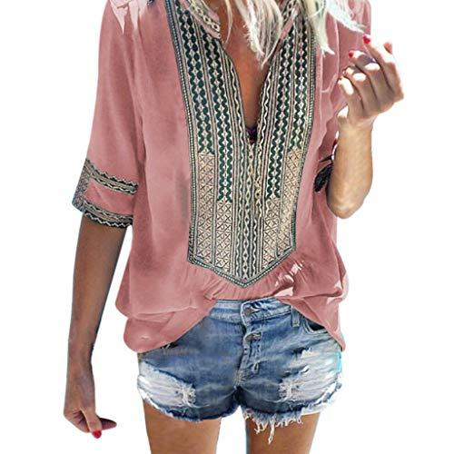 Sunhusing Women's Deep V-Neck Bohemian Print Half Sleeve Tops Casual Beach Wind T-Shirt (M, Pink)