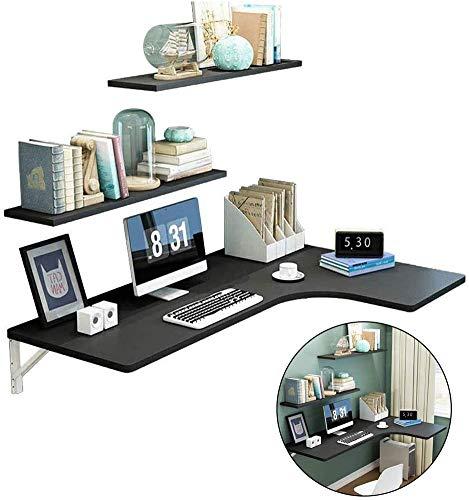 Esquina de pared Mesa de ordenador con estantes 2 mampara plegable Mesa de estudio portátil Escritorio en forma de L de la tabla de alas abatibles para salas de estudio Oficinas,Negro,100*70*50cm