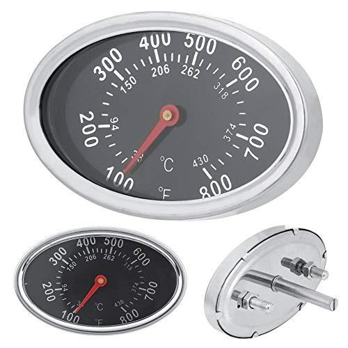 DEWIN Termómetro para Parrilla,Medidor de Temperatura BBQ de Forma Ovalada 430 ℃,Termómetros para Barbacoas Acero Inoxidable