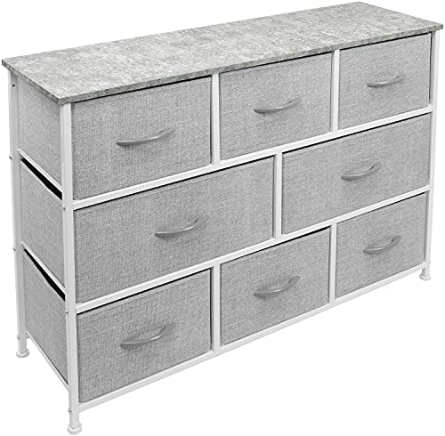 Sorbus Dresser with 8 Drawers - Furniture Storage Chest for Kids Clothing Organization, Bedroom, Hallway, Closet, Office - Steel Iron Frame, Rustic Farmhouse Wood Top, Fabric Bins (Gray)