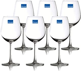 Ocean 015A21 Madison Bordeaux Wine Glass, Pack of 6, Clear, W 98 x H 224 x D 80.0 mm, 600 ml, Glass