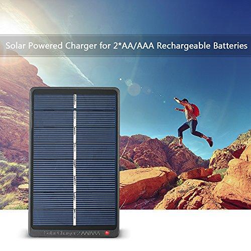 Festnight 2 x AA/AAA oplaadbare batterij-oplader op zonne-energie 1 W 4 V zonnepaneel voor opladen van de batterij
