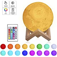 Tomshine 16 Colors LED 3D Print Nursery Moon Lamp With Stand