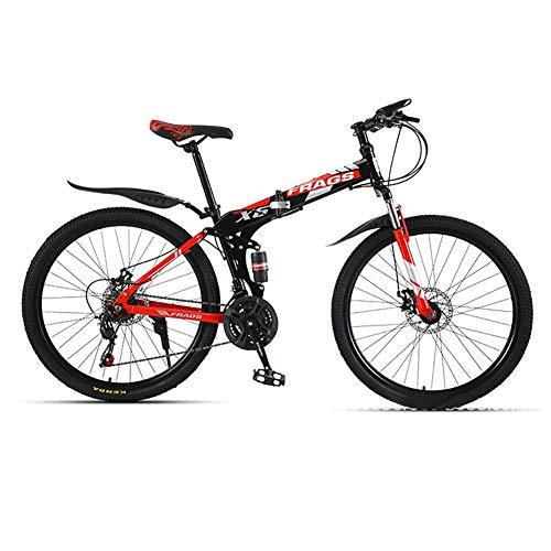 SXXYTCWL 26-Inch Bike, 21-Speed Disc Brake Mountain Bike, Suitable From 160-185 Cm, Fork Suspension, MTB(Red Black) jianyou