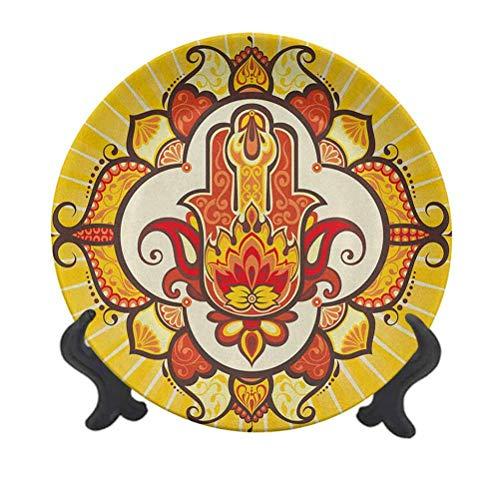 Hamsa - Plato decorativo de cerámica de 20,32 cm, diseño inspirado en el sol, temática de mantra de Aura Energía con adornos, plato de cerámica decorativo para mesa de comedor, decoración del hogar