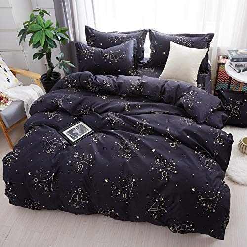 Cotexture Starry Sky Duvet Cover Set King Dark Mysterious Galaxy 3 Piece Bedding Set Constellation Pattern on Black Microfiber Soft Comforter Quilt Cover (1 Duvet Cover + 2 Pillow Shams)