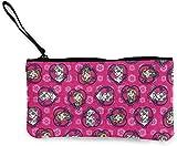 Yuanmeiju Frozen Flannel Sisters Set Heart Pink Fabric Small Monedero Canvas Wallet Zipper Monedero Small Zipper Bag