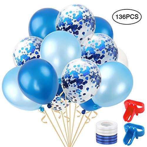 BAKHK 136 Stück 12 Zoll Konfetti Ballon Blau mit Blau Latex Luftballons Junge Luftballon für Hochzeit Geburtstag Weihnacht Shower Graduierung Brautgeschenke, 4 Farbe.