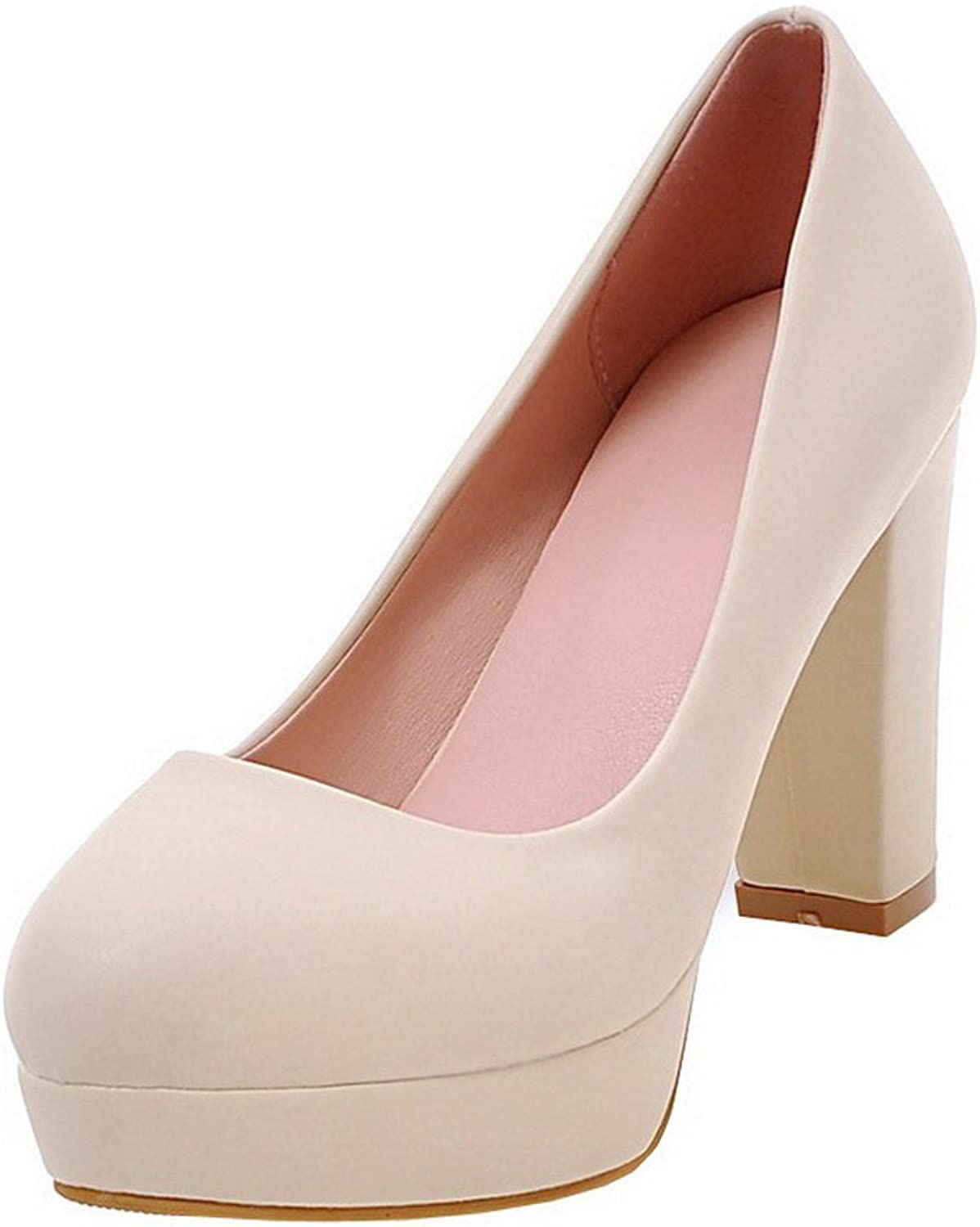 AmoonyFashion Women's PU Round Closed Toe High-Heels Pull-On Solid Pumps-shoes
