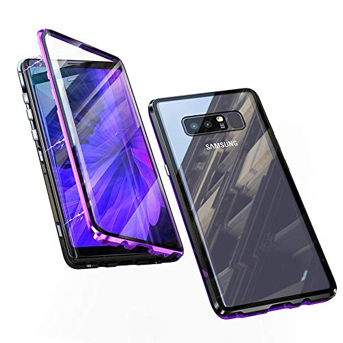 Compatible with Samsung Galaxy Note 8 Case, Jonwelsy 360 Degree Front and Back Transparent Tempered Glass Cover, Strong Magnetic Adsorption Technology Metal Bumper (Purple/Black)