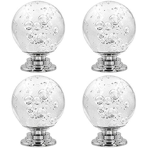 Tingz 4 piezas de perillas de puerta de cristal de 30 mm, manija de gabinete de cajón de un solo orificio con tornillos para el armario del hogar Gabinete de tocador de oficina de cocina