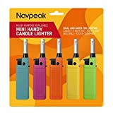 Navpeak Mini Candle Lighter Handy Refillable for Kitchen Fireplace Pilot Light BBQ Grill Stove 5 Pack (Butane Included)