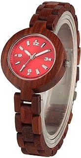 LRHD Braccialetto da donna Orologi rossi Brown Color Brown Full Wooden Elegante Dial Small Dial Signora Orologio da polso ...