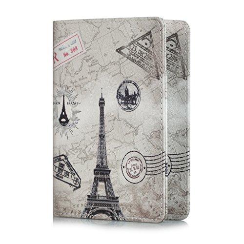EpicGadget RFID Blocking Premium Leather Passport Holder Travel Wallet Cover Case (Eiffel Tower)