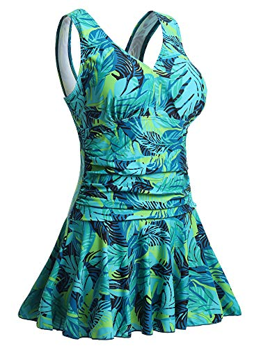 MiYang Women's Plus-Size Flower Printing Shaping Body One Piece Swim Dresses Swimsuit Green Leaf Printed X-Large (US 16-18)