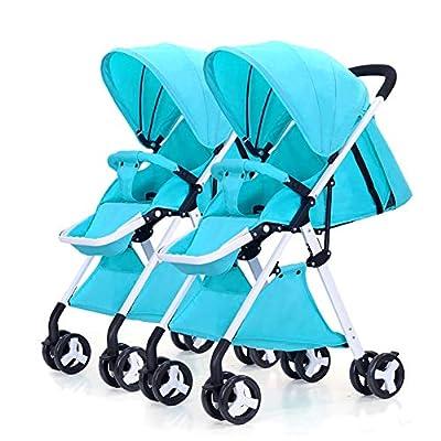 LIU UK Baby Stroller Cochecito de bebé Gemelo, Desmontable Ligero Suspensión Plegable Carro Infantil Doble Marco Blanco (Color : Azul)