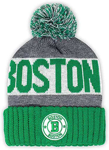 Semper Fi Boston Men's Winter Knit Landmark Patch Pom Beanie (Green/Gray)