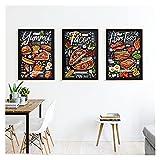 GKMM Comida Restaurant Cafe Cafe Chalk Wall Art Cartel Yummy Hamtoast México Lienzo Pintura Pizzeria Cocina Moderna Decoración de la Decoración de Hogar 20x28x3 Inch Sin Marco