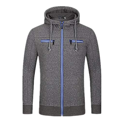 YINLAN Mens Full Zipper Cardigan Casual Knitted Knitting Hoodies Hooded Pullover Jumper Jacket Tops Mens Autumn Winter Thick Warm Drawstring Slim Fit Cotton Linen Hoody Knit Sweatshirt With Pockets
