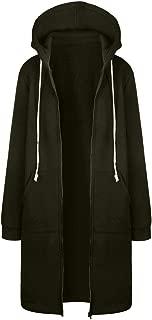 Women Warm Zipper Open Hoodies Sweatshirt Long Coat Jacket Tops Outwear