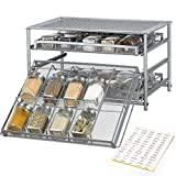 NEX Spice Rack Organizer for Cabinet, 3 Tier 30-Bottle Spice Drawer Storage for Kitchen Pantry Countertop, Metal, Silver