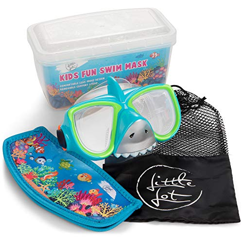 Little Lot Goggles Kids Swimming goggles 6-14, Silicon Anti Fog and UV Protection, Snorkel Mask with Carry Bag, Blue and Green Shark Snorkelling Set