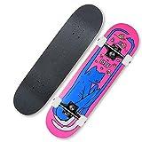 LangCher Skateboard 31Inch Professionnel Standard Standard Standard Skateboards Longboard pour Enfants Adolescents et Adultes Adolescents Adolescents Cadeau érable 7 Couches Maple Deck (Color : H)