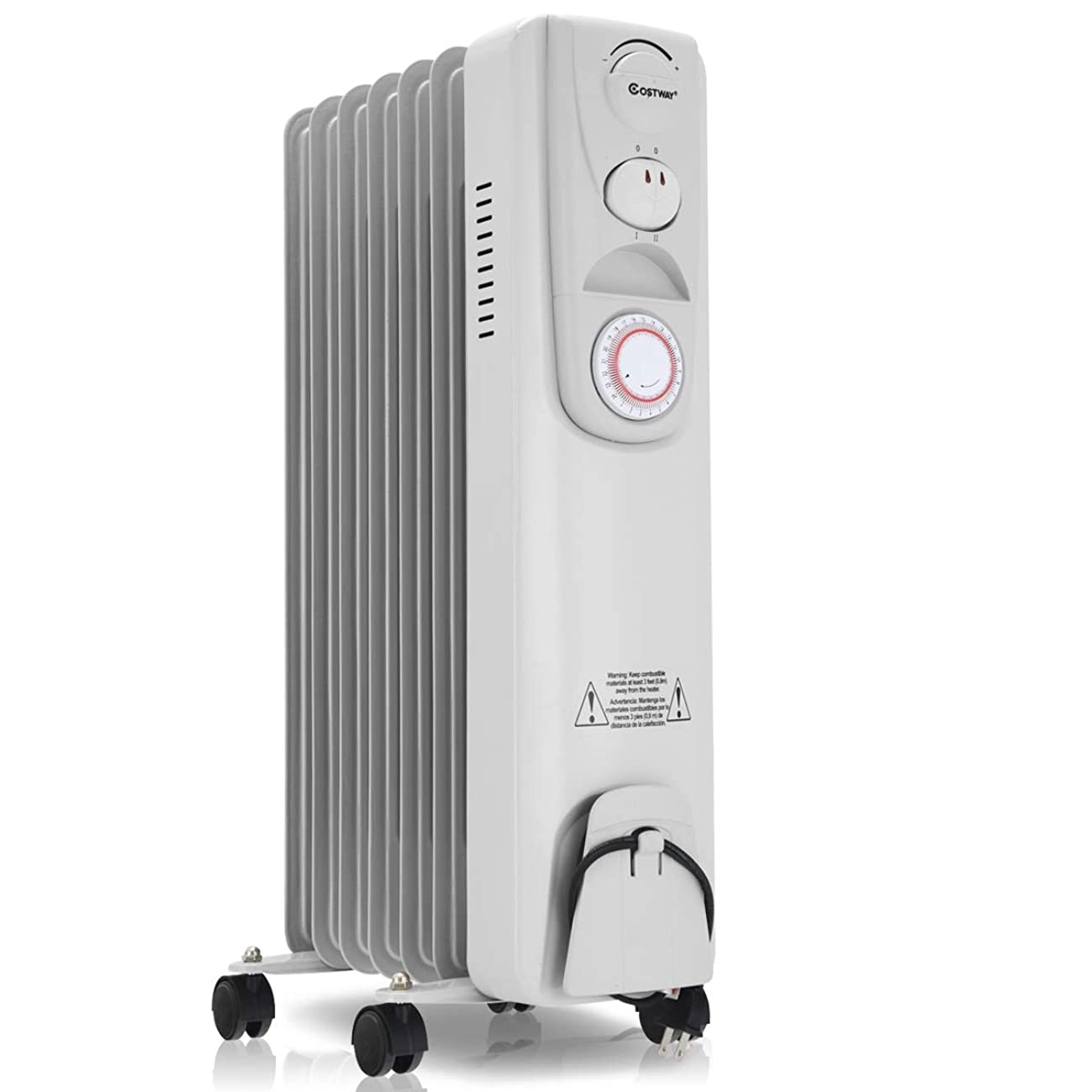 COSTWAY Oil Space Heaters 1500W Electric Filled Radiator Heater Portable Home Office Room Radiant Heat 7-Fin w//Timer Thermostat