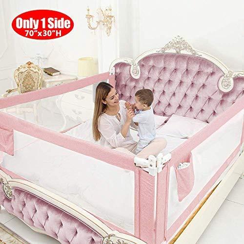 ZAHNHASE Barriera Letto Bambini Viaggio Guardrail sicurezza/protezione removibile per letto bambino - 180cm,Rosa,1pc