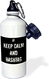 3dRose Keep Calm and Hashtag-Sports Water Bottle, 21oz (wb_178662_1), Multicolored