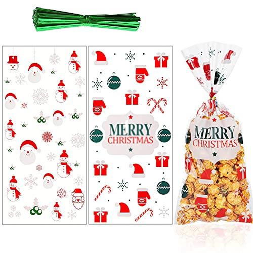100 Piezas Bolsas De Celofan Navidad Bolsas De Fiesta De Celofán De Navidad Navidad Bolsas De Dulces Transparente Bolsas De Dulces De Galletas De Navidad Para Dulces Galletas Chocolates Dulces