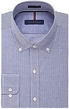 Tommy Hilfiger Men's Non Iron Slim Fit Check Button Down Collar Dress Shirt, Ocean, 18