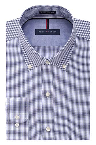 Tommy Hilfiger Men's Non Iron Slim Fit Check Button Down Collar Dress Shirt, Ocean, 16.5' Neck 32'-33' Sleeve