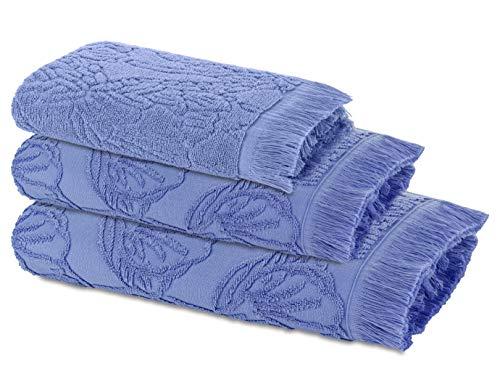 Ardenza Juego de 3 toallas de Terry Blossom, tamaño 33 x 50 cm, 48 x 90 cm, 70 x 140 cm, densidad 520 g/m² (morado)