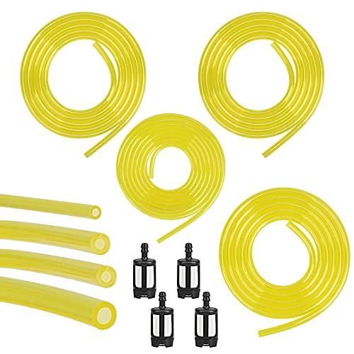 HAKOTOM Kraftstoffschlauch 4Tlg Benzinschlauch Set 3mm x 6mm 3mm x 5mm 2.5mm x 5mm 2mm x 3.5mm Ölschlauch Kraftstoffleitung mit Benzinfilter Schläuche Ersatz für Rasenmäher Motor