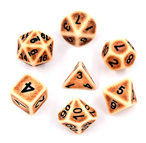 Hengda dice Polyhedral Dice Set Brown Ancient Dice for Dungeons and Dragons RPG MTG Table Games Dnd Dice (Brown)