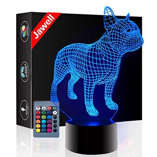 Jawell Lámpara de noche con iluminación 3D, 7 colores cambiantes, interruptor táctil, lámpara de mesa, decoración de escritorio, regalo de Navidad, con base de acrílico y ABS y cable USB