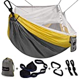 Sunyear Single & Double Camping Hammock with Net, Portable Outdoor Tree Hammock 2 Person Hammock for Camping Backpacking Survival Travel, 10ft Hammock Tree Straps and 2 Carabiners, Easy to Setup