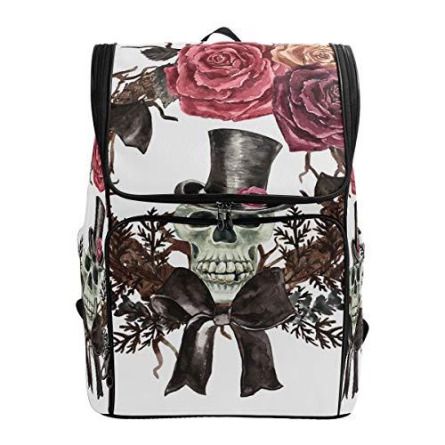 Schultaschen Aquarellfarben Gothic Totenkopf Kranz Fledermaus Studenten Laptop Buch Tasche Rucksack Rucksack für Teenager Jungen und Mädchen