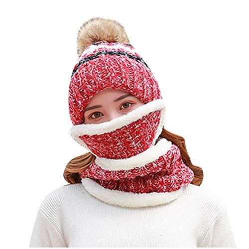 Watopi Damen Gestrickt Wolle Schal Hut Pompon Cap Set Warm Winter + Schal + Maske