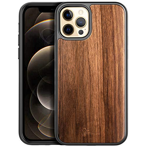 NZND Case for iPhone 12, iPhone 12 Pro 6.1 inch (2020 Release), Real Natural Walnut Wood, Dual Layer Hybrid Protective Bumper Shockproof Phone Case (Every Piece is Unique) -Wood