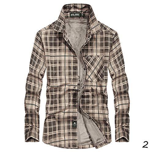 X&Armanis Kariertes warmes Herren Plus-Fleecehemd, Plüsch-Fleece-Shirt Baumwollhemd mit dickem Druck,2,L