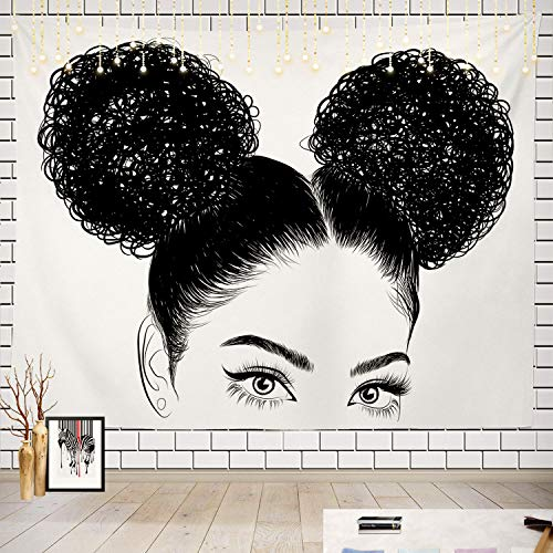 Batmerry Black Woman Afro American Tapestry, Black Woman with Shirt Graphic Tee Visit Hair Afro Girl Picnic Mat Beach Towel Wall Art Decoration for Bedroom Living Room, 51.2 x 59.1 Inches, Black