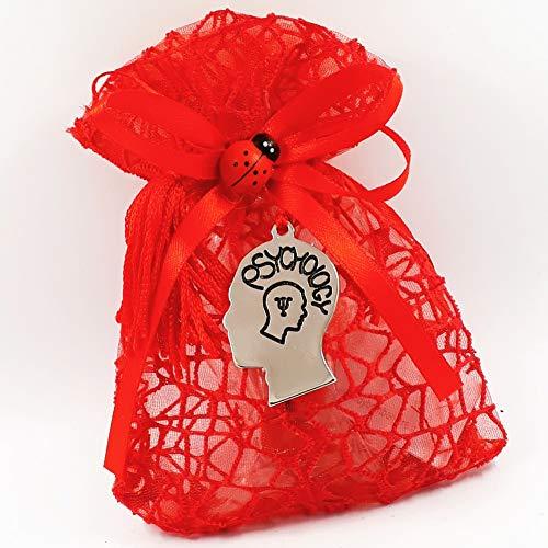 Bomboniera sacchetto portaconfetti per laurea con ciondolo a forma di testa per psicologia con nappa rossa o Portachiavi (Bomboniera con nappa)