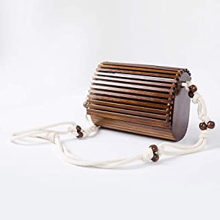 Bamboo Handbag Handmade Tote Purse Straw Beach Bag for Women (Color : Coffee)