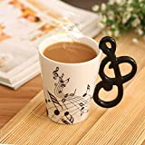 13.5 oz Music 3D Mug Musical Notes Ceramic Milk Coffee Cup for Music Players Musicians,Black
