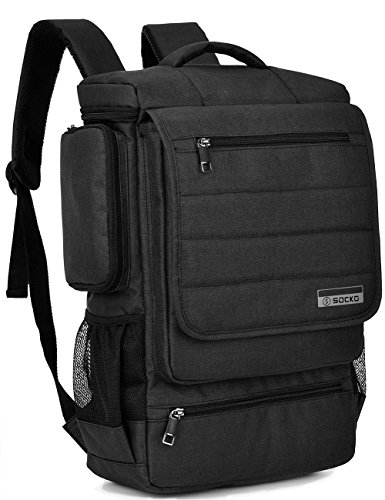 Laptop Backpack ,SOCKO 17 Inch Multifunctional Unisex Luggage & Travel Bags Knapsack,rucksack Backpack Hiking Bags Students School Shoulder Backpacks Fits Up to 17.3 Inch Laptop Macbook Computer,Black