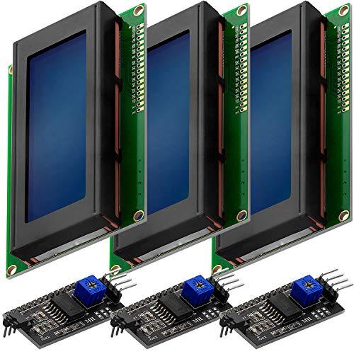 AZDelivery 3 x HD44780 2004 LCD Display Bundle Blau 4x20 Zeichen mit I2C Schnittstelle kompatibel mit Arduino inklusive E-Book!